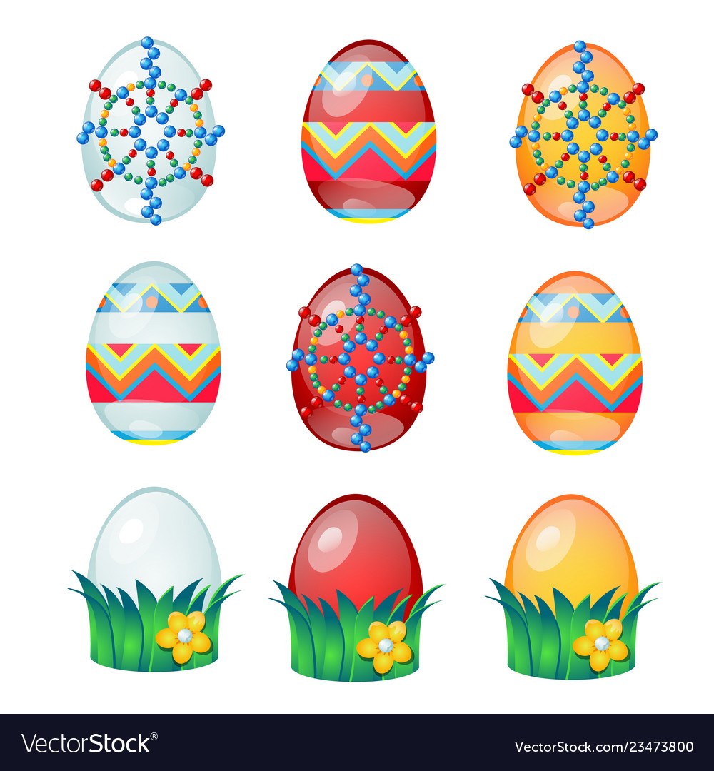Set of colorful easter eggs with patterns isolated