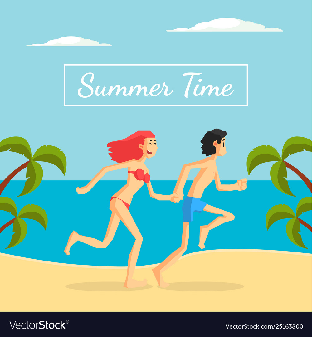 Summer time banner template happy young couple