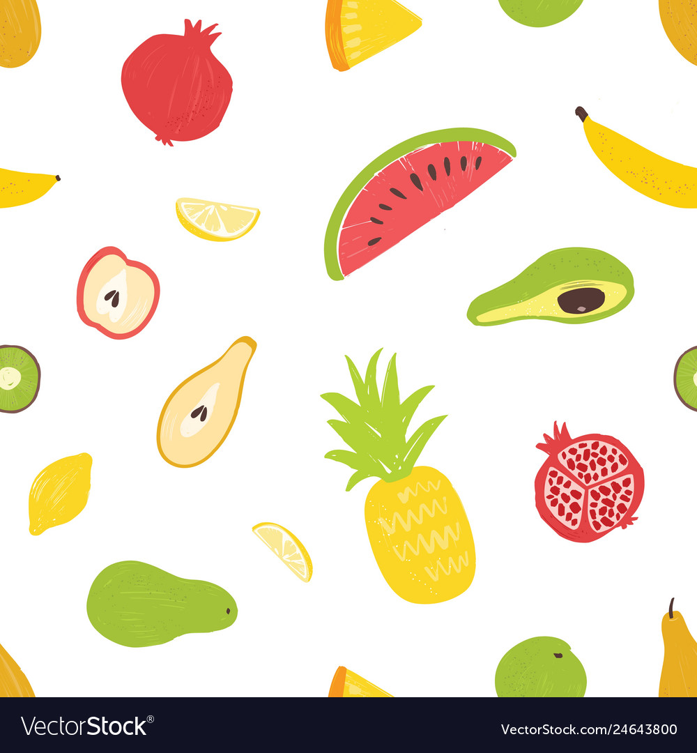 Summertime seamless pattern with exotic fresh