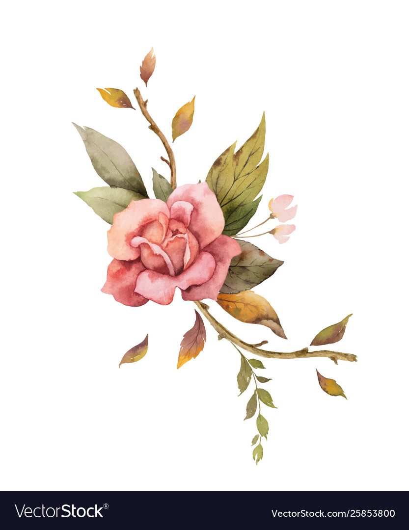 Watercolor autumn arrangement with rose and