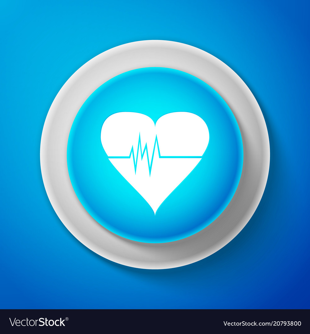White heart rate icon heartbeat sign heart pulse