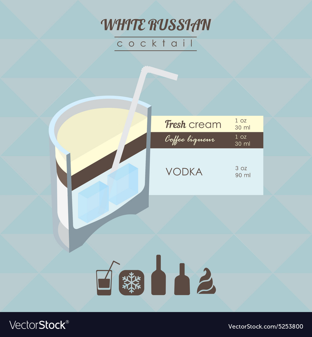 White russian cocktail flat style isometric