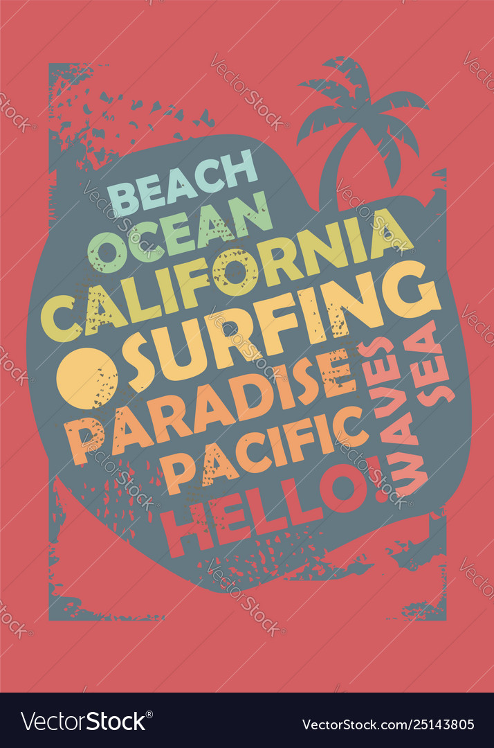 dc29cff5 California surfing t shirt design layout Vector Image