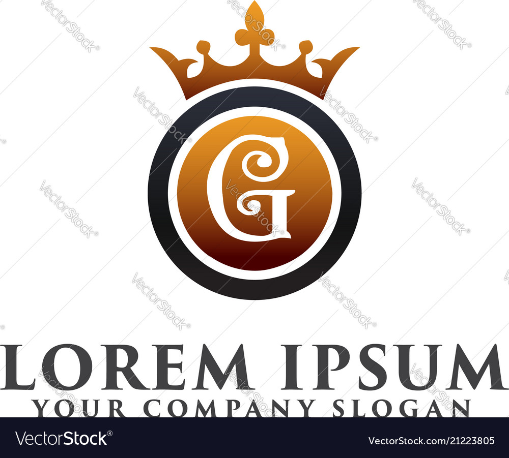 Luxury letter g with crown logo design concept