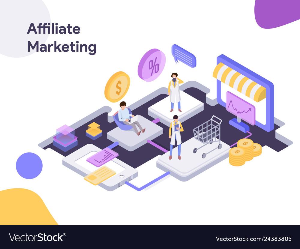 Online shopping affiliate marketing isometric