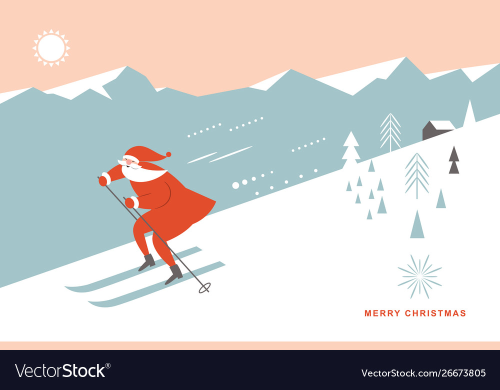 Santa skiing downhill in high mountains