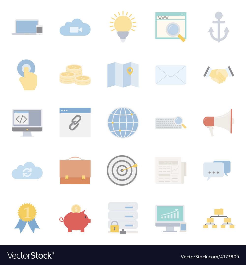 Seo and e-marketing flat icon set