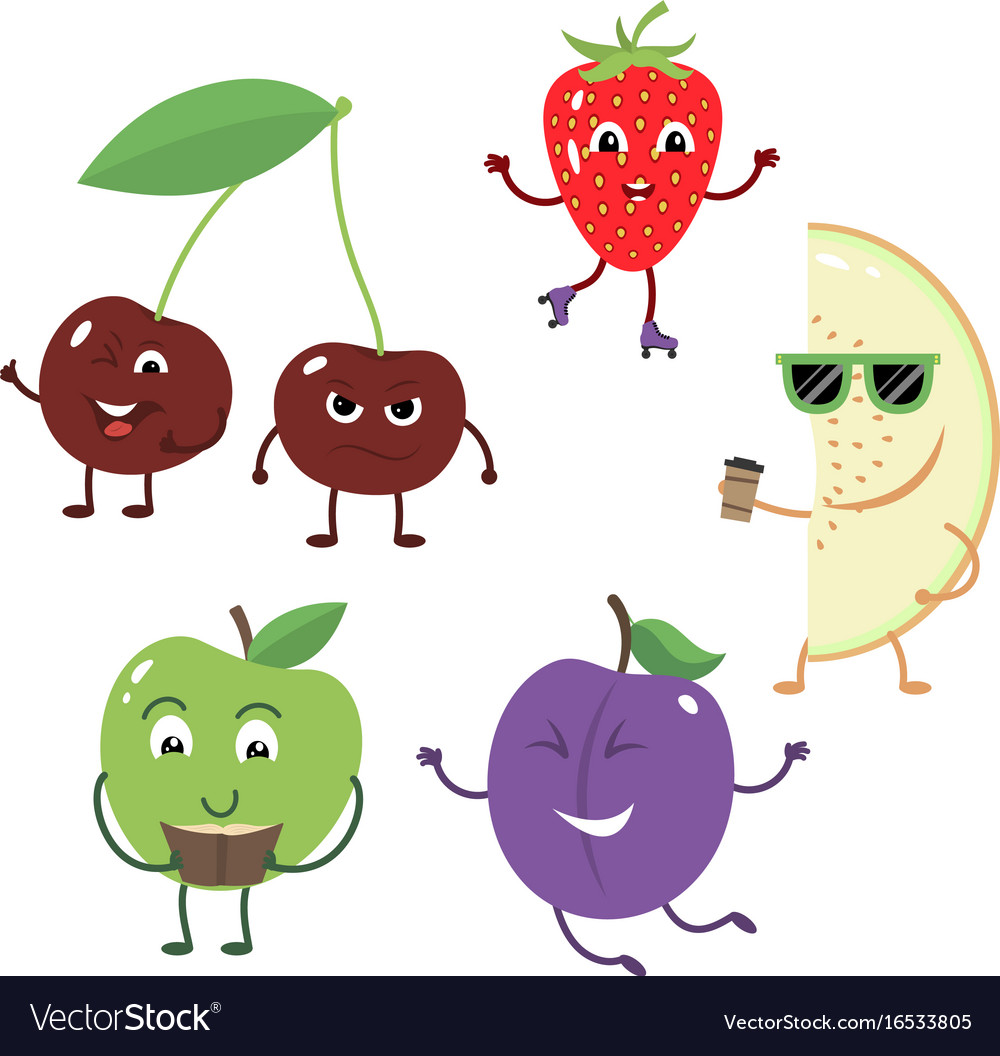 Set of funny characters from fruit