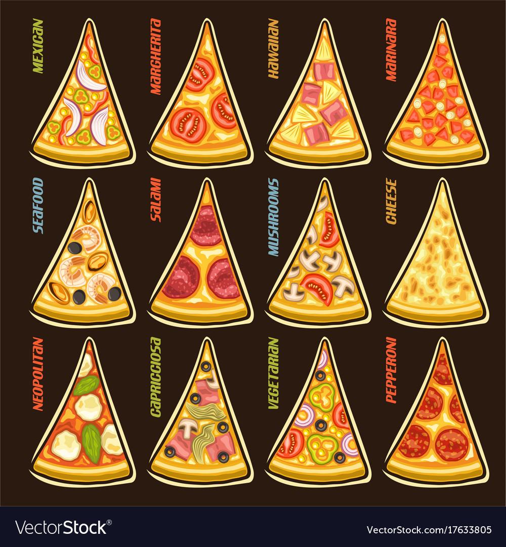 Set slices of italian pizza
