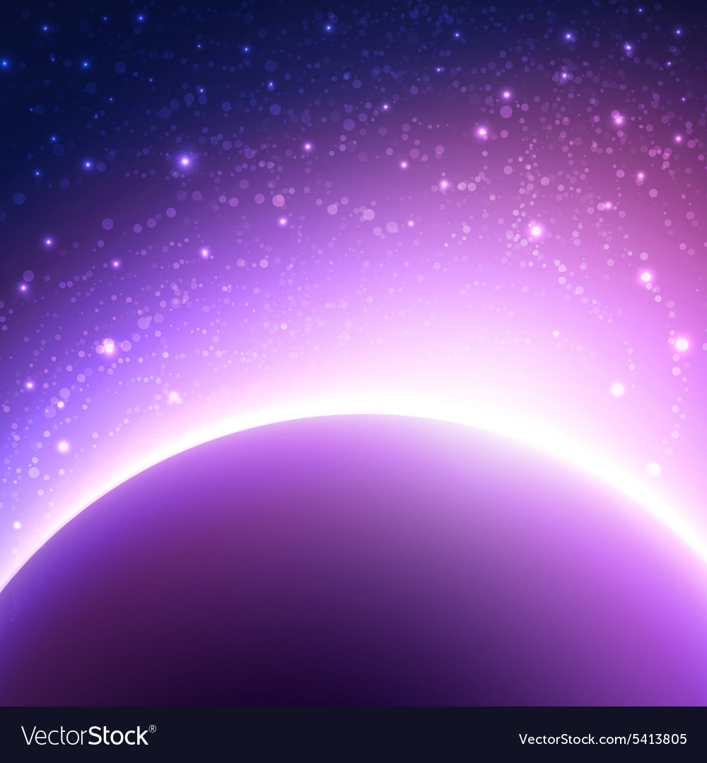 Space background with planet and shining sun