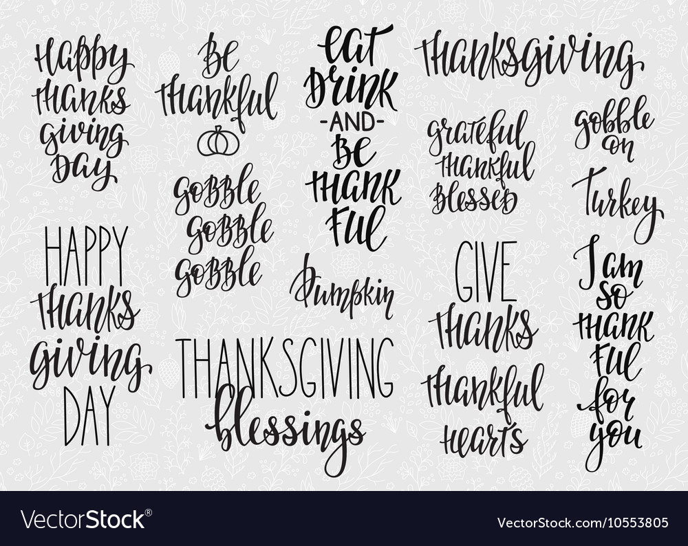 Thanksgiving lettering typography set vector image