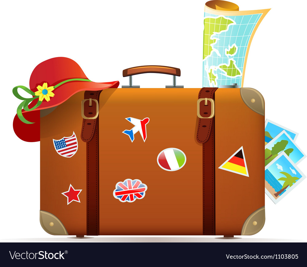 Vintage travel suitcase Royalty Free Vector Image