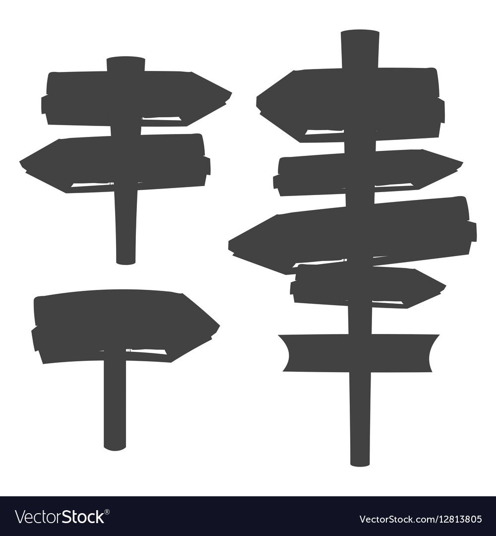 Wooden blank sign boards silhouettes isolated on