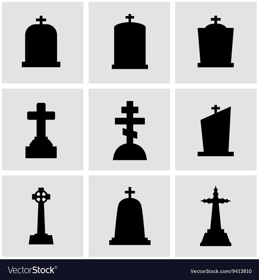Black gravestone icon set