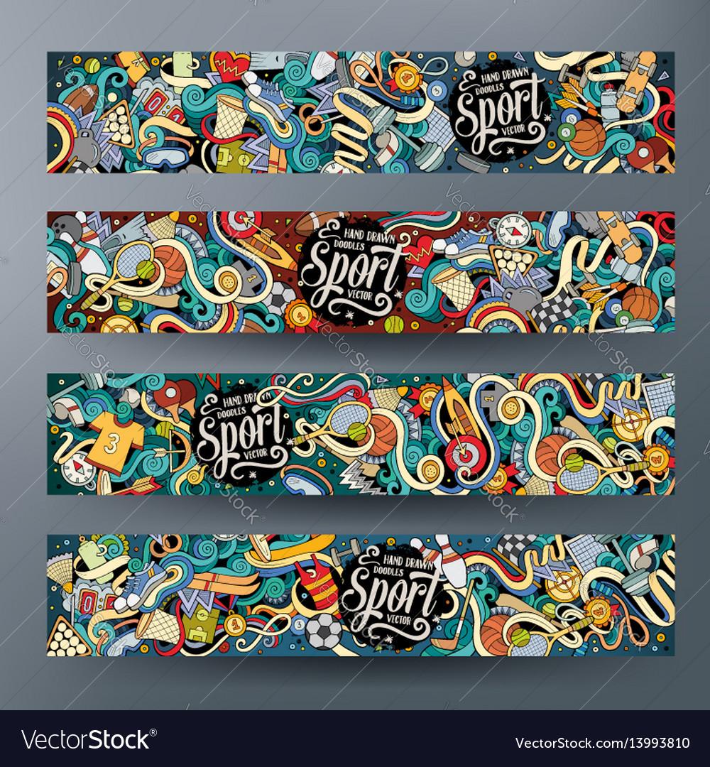 Cartoon hand drawn doodles sport banners