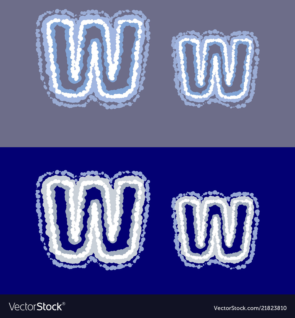 Letter w on grey and blue background