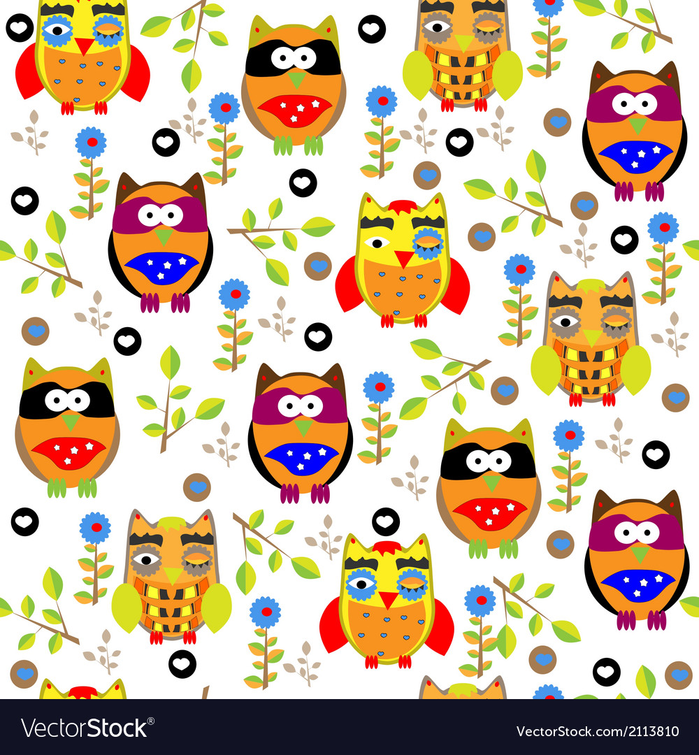 Seamless colourfull owl pattern for kids in