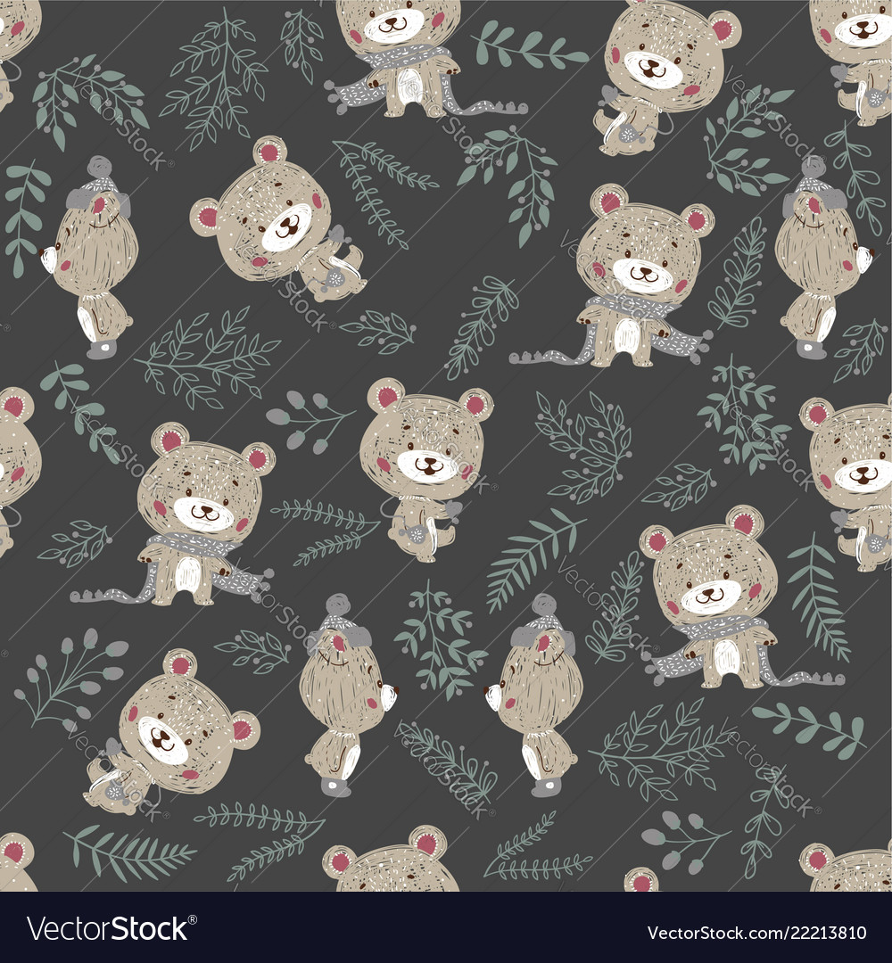 Seamless pattern with cute bear in scarf and hat