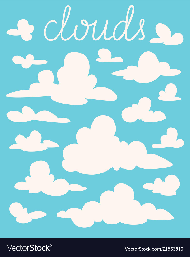 Set of white fluffy cartoon clouds on blue
