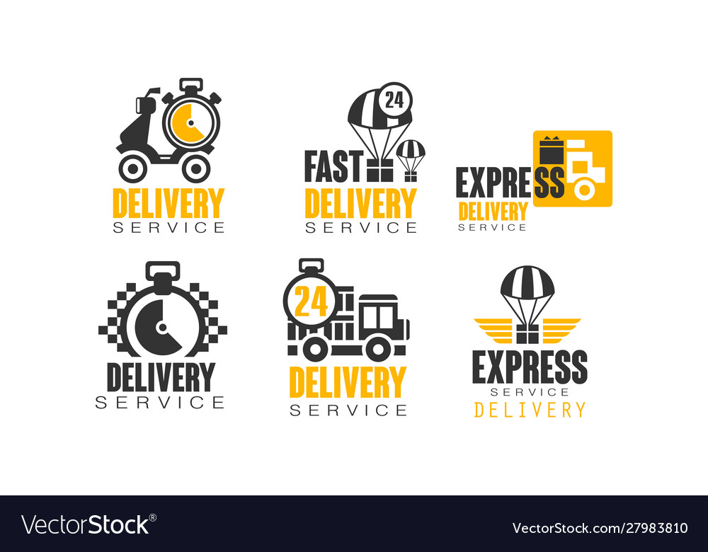Shipping and delivery service logos set