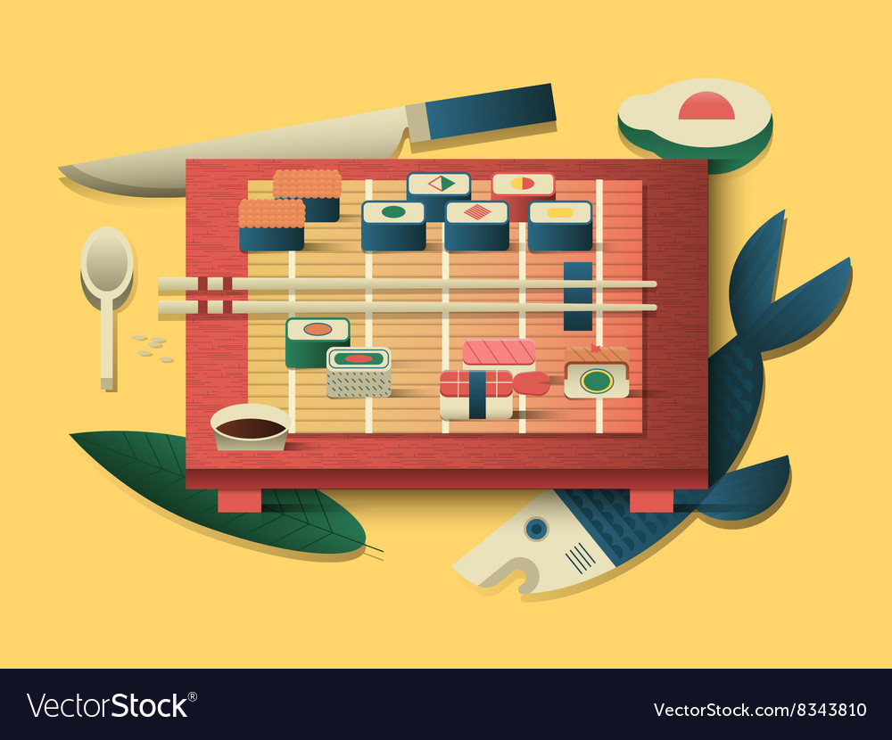 Sushi design flat