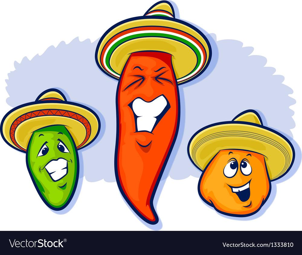 Three Peppers Wearing Sobreros