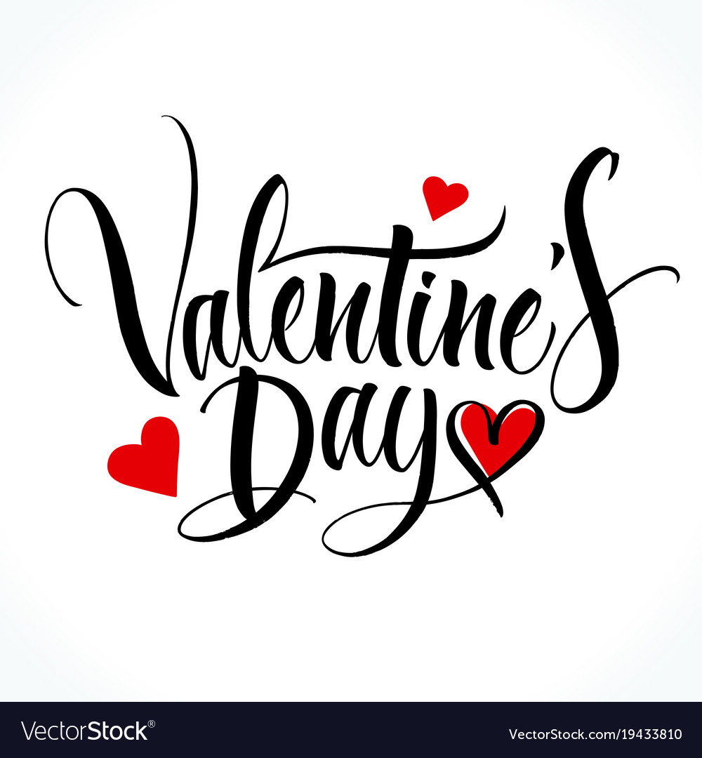 Valentine Day Lettering Royalty Free Vector Image