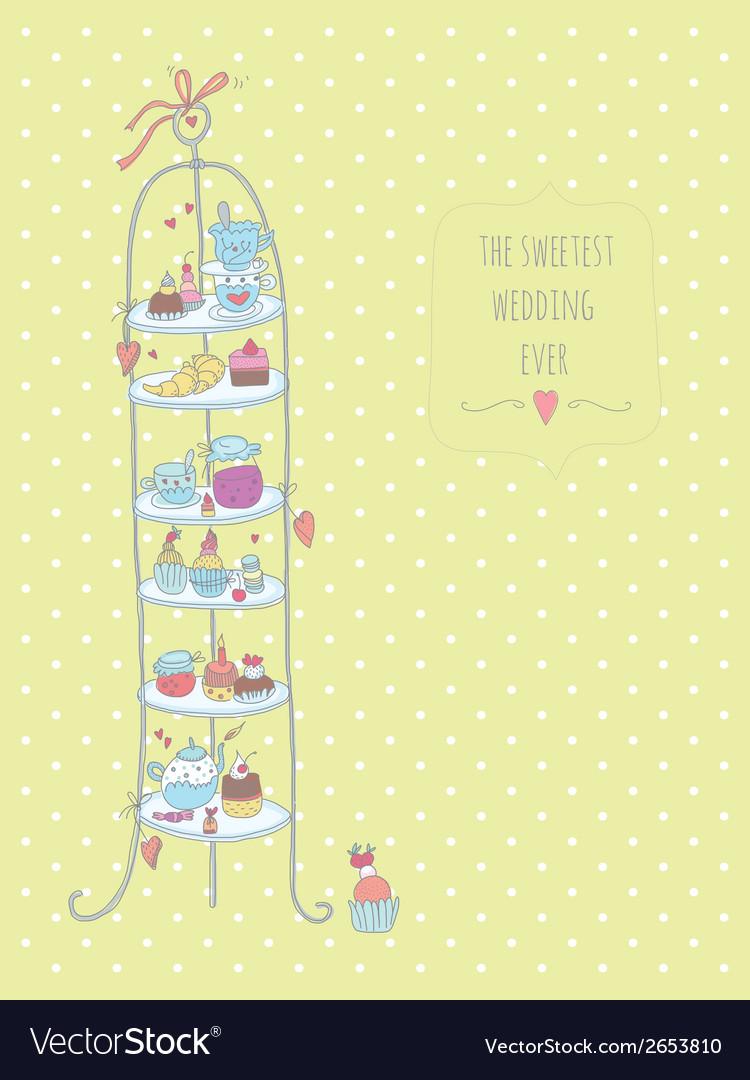 Wedding cake stand Royalty Free Vector Image - VectorStock