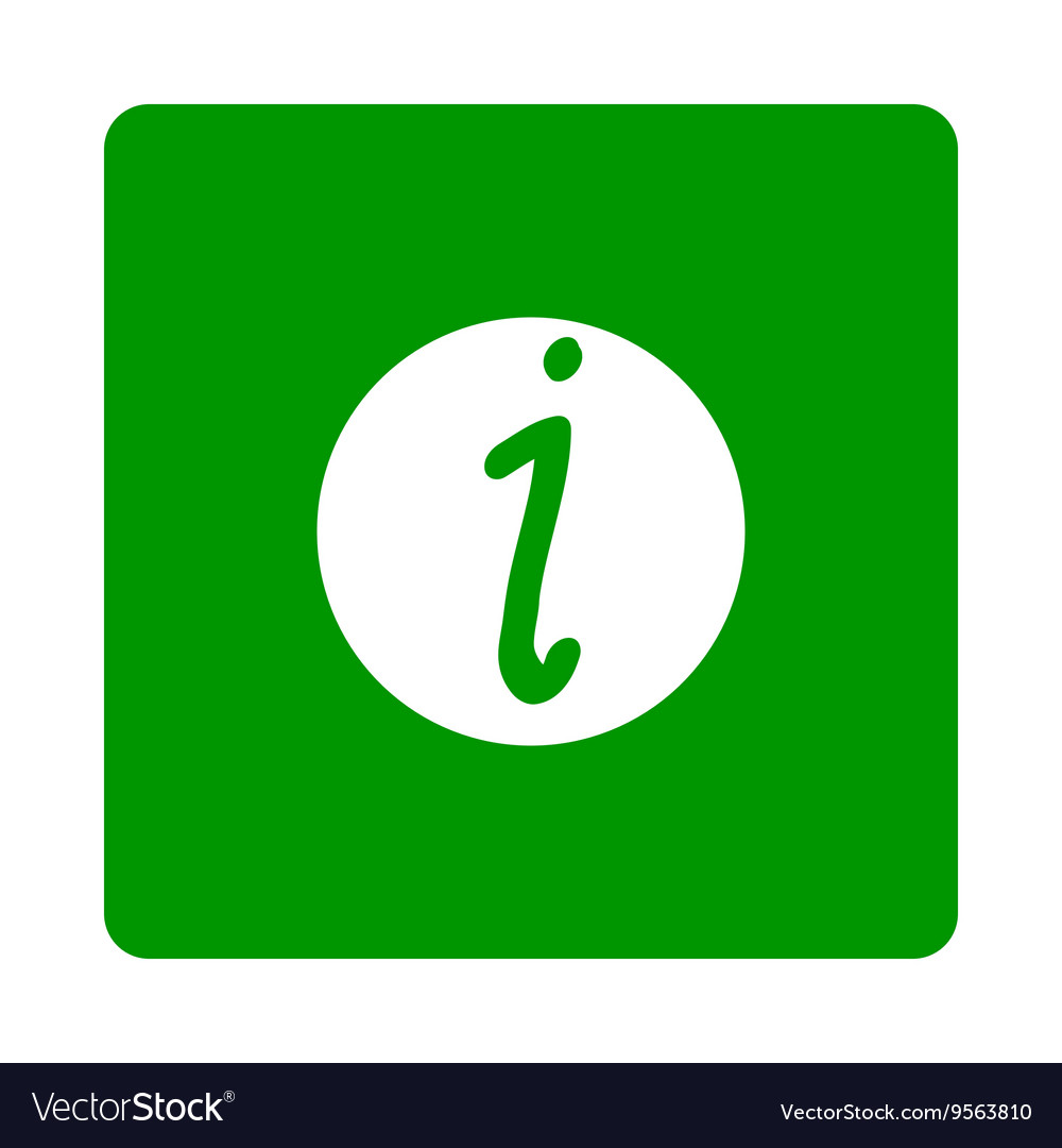 White information sign in green square isolated on vector image