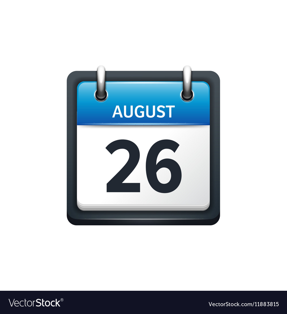 August 26 Calendar icon flat