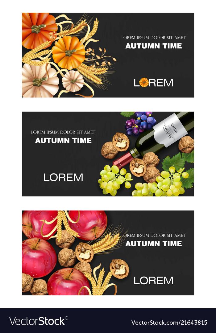 Autumn harvest banners set realistic