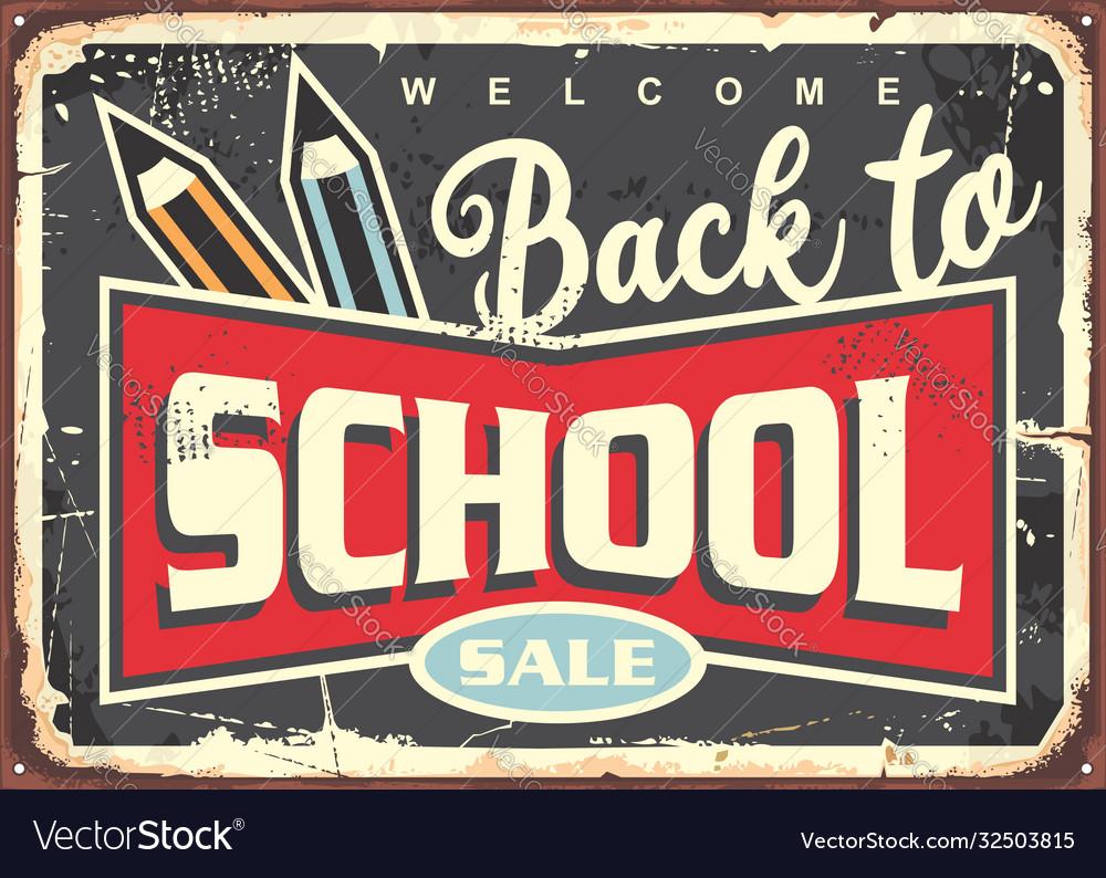 Back to school vintage sign design