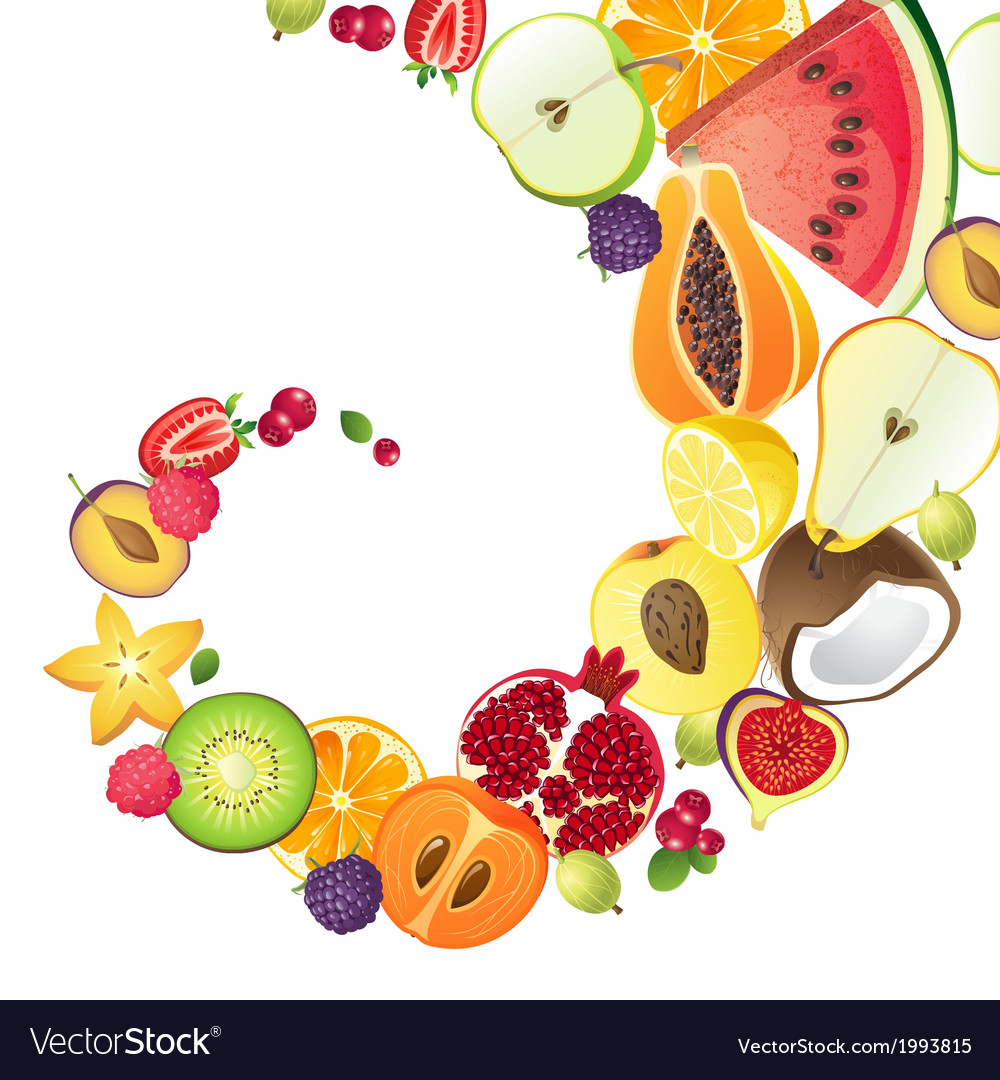 Bright background with fruits