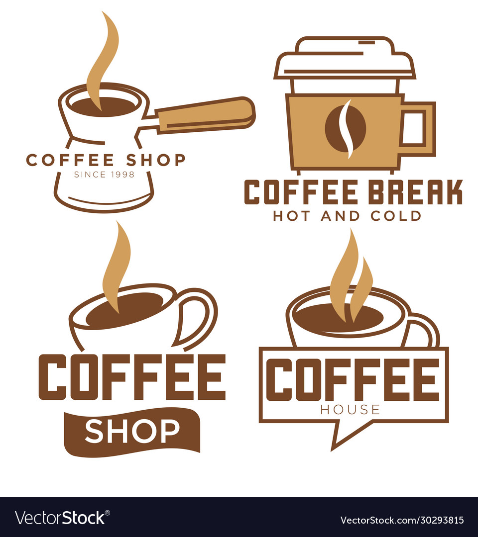 Coffee shop and break set logotypes or labels