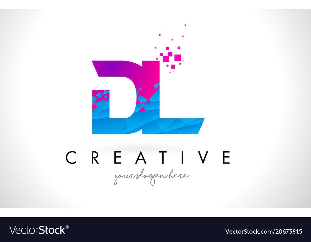 Dl D L Letter Logo With Shattered Broken Blue Vector Image