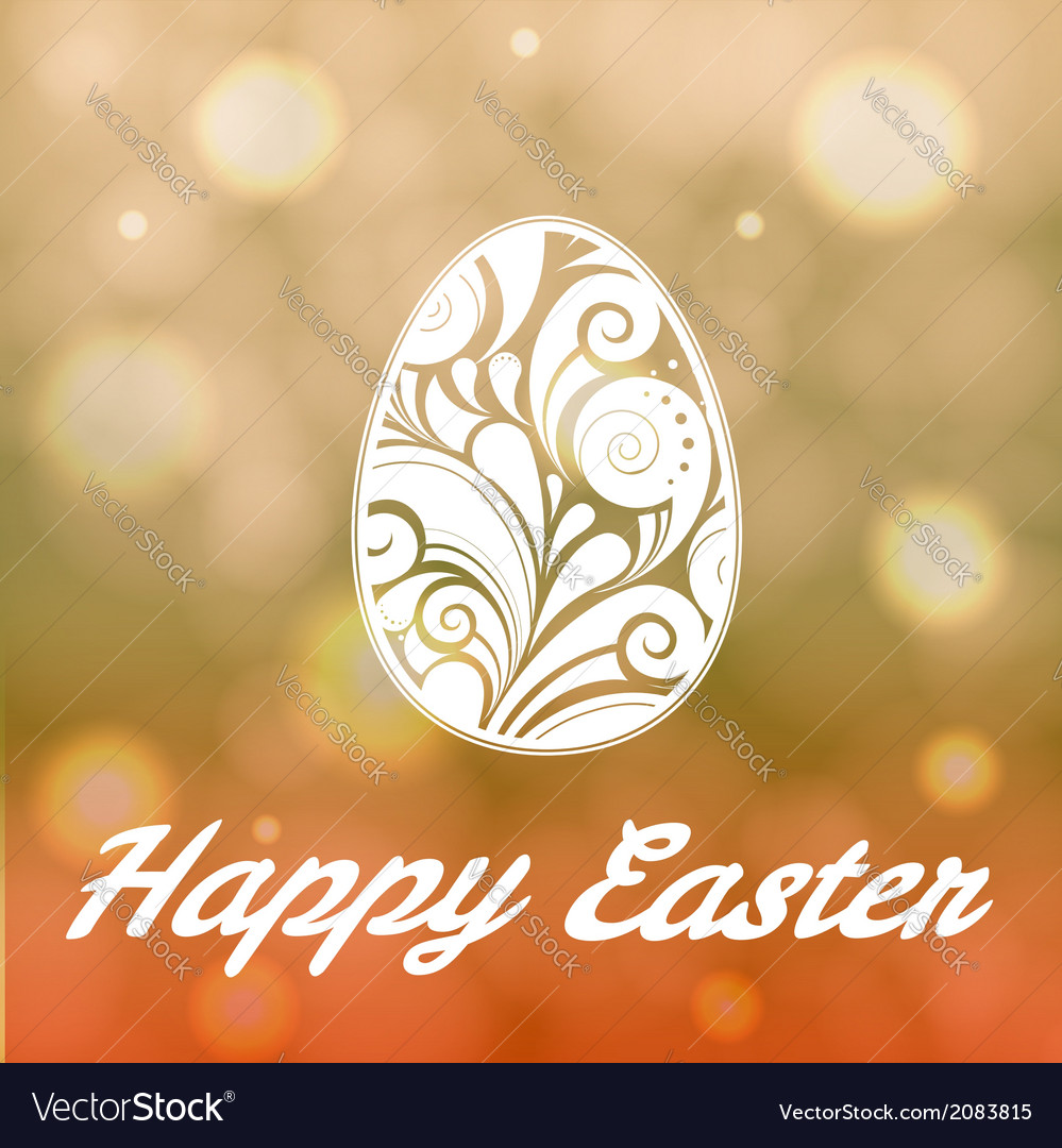 Easter egg with floral ornament on bright bokeh ba