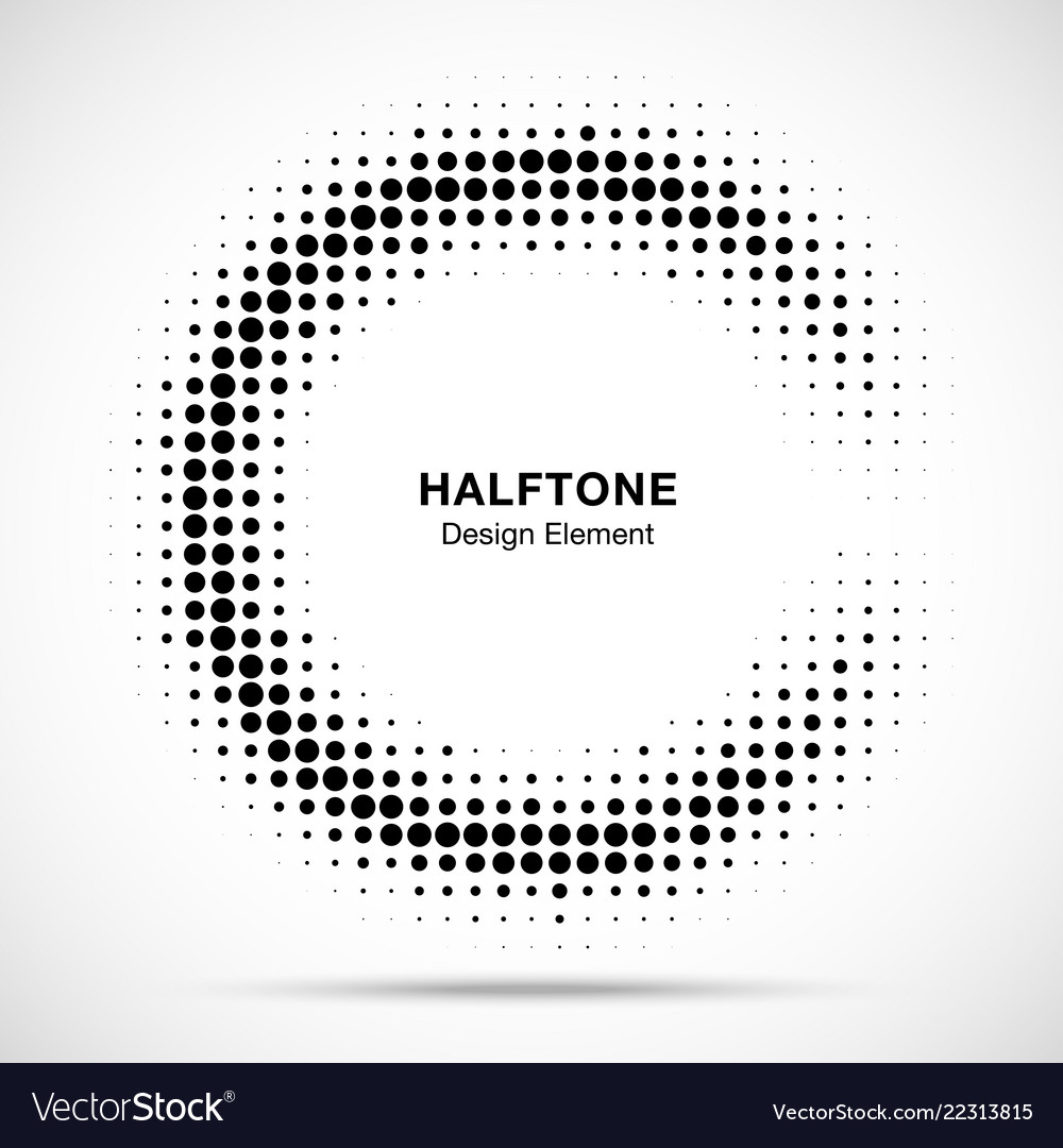 Halftone half moon circule frame background
