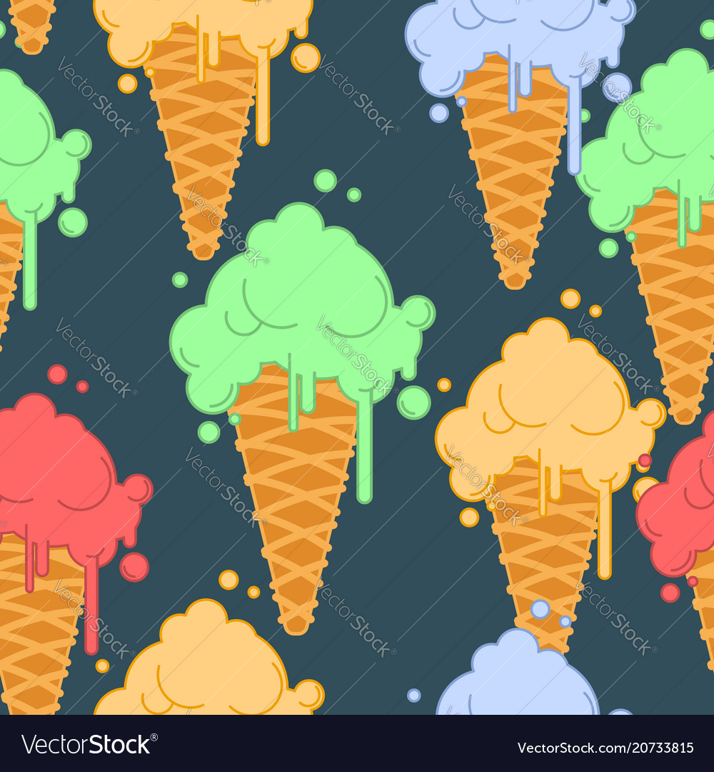 Ice cream in waffle cone seamless pattern cold vector image