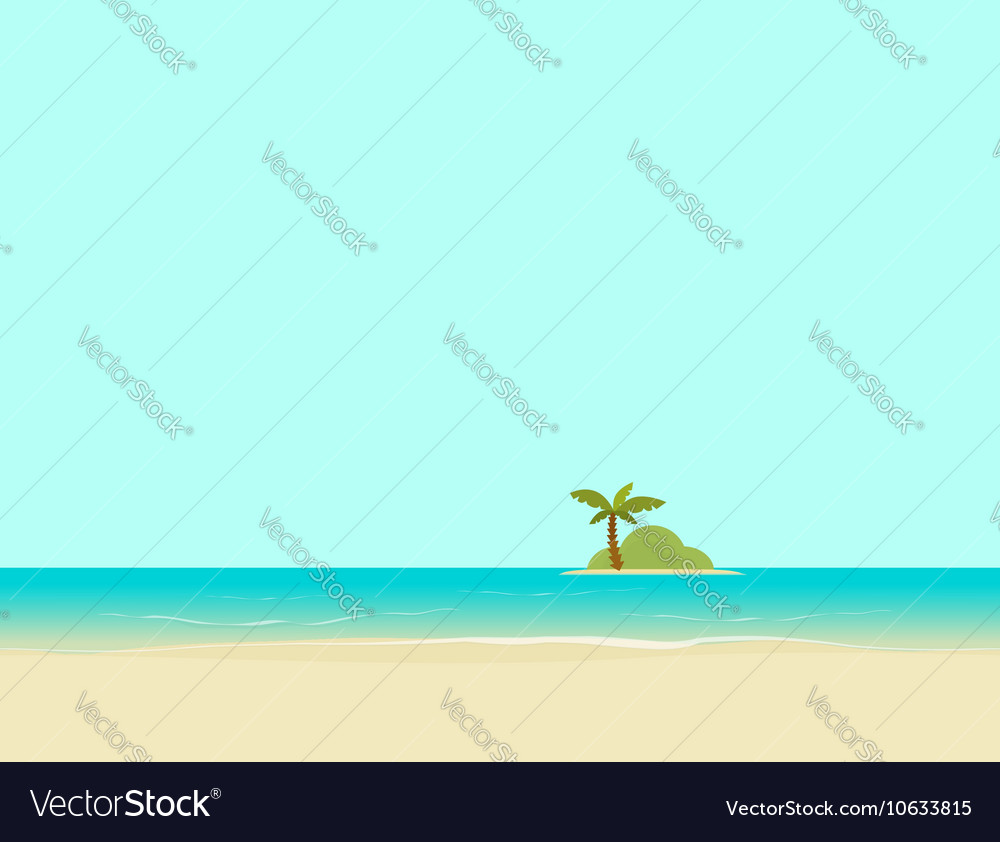 Island in sea or ocean from beach landscape vector