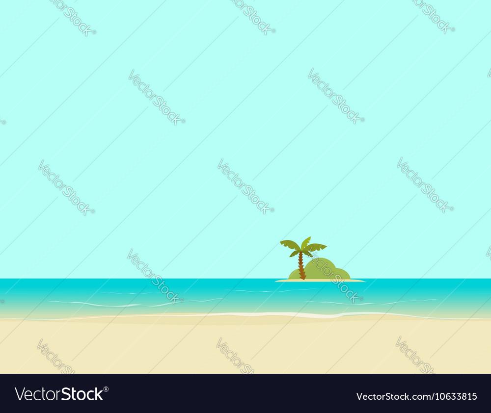Island in sea or ocean from beach landscape