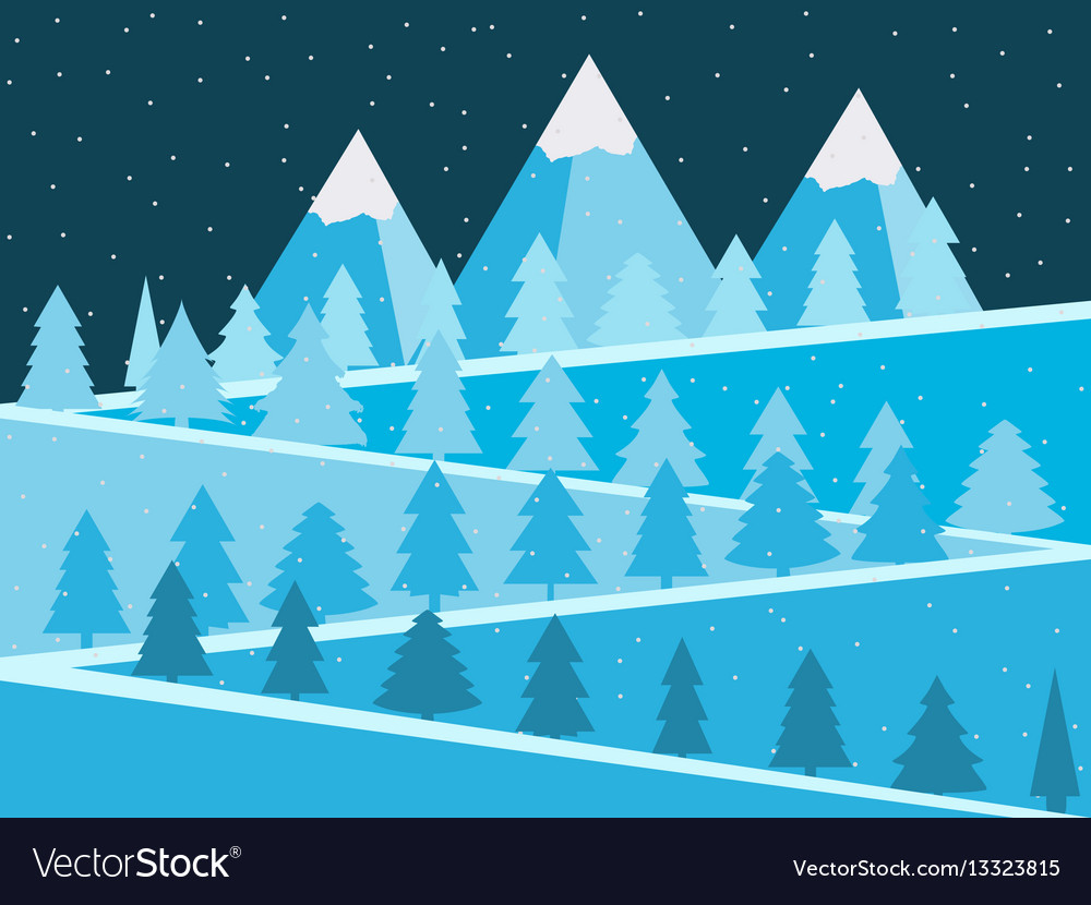 Mountain landscape with christmas trees snowy