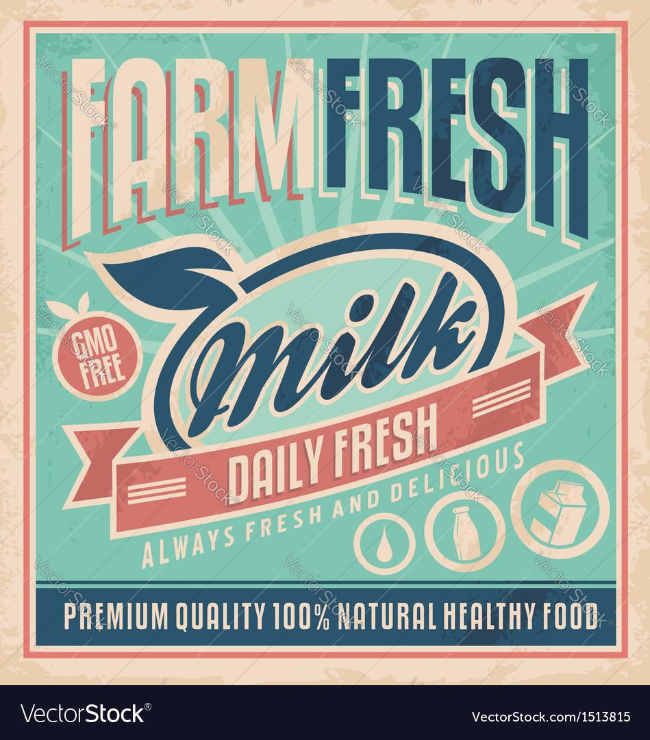 Retro farm fresh milk concept