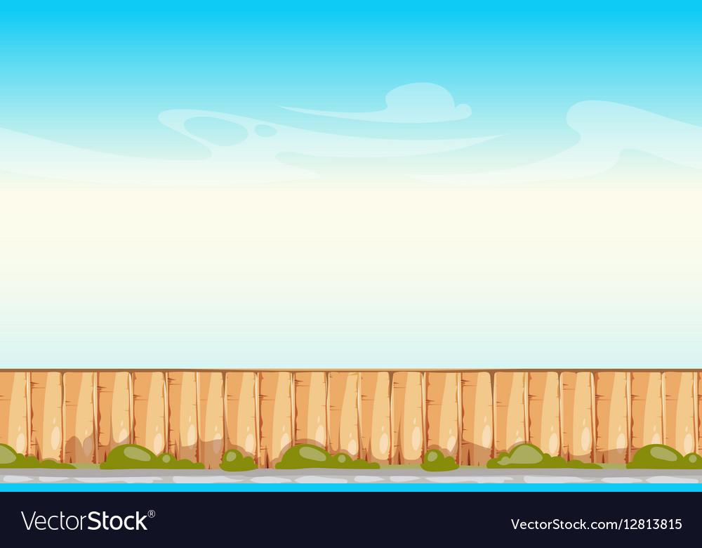 Rural wooden fence blue sky background