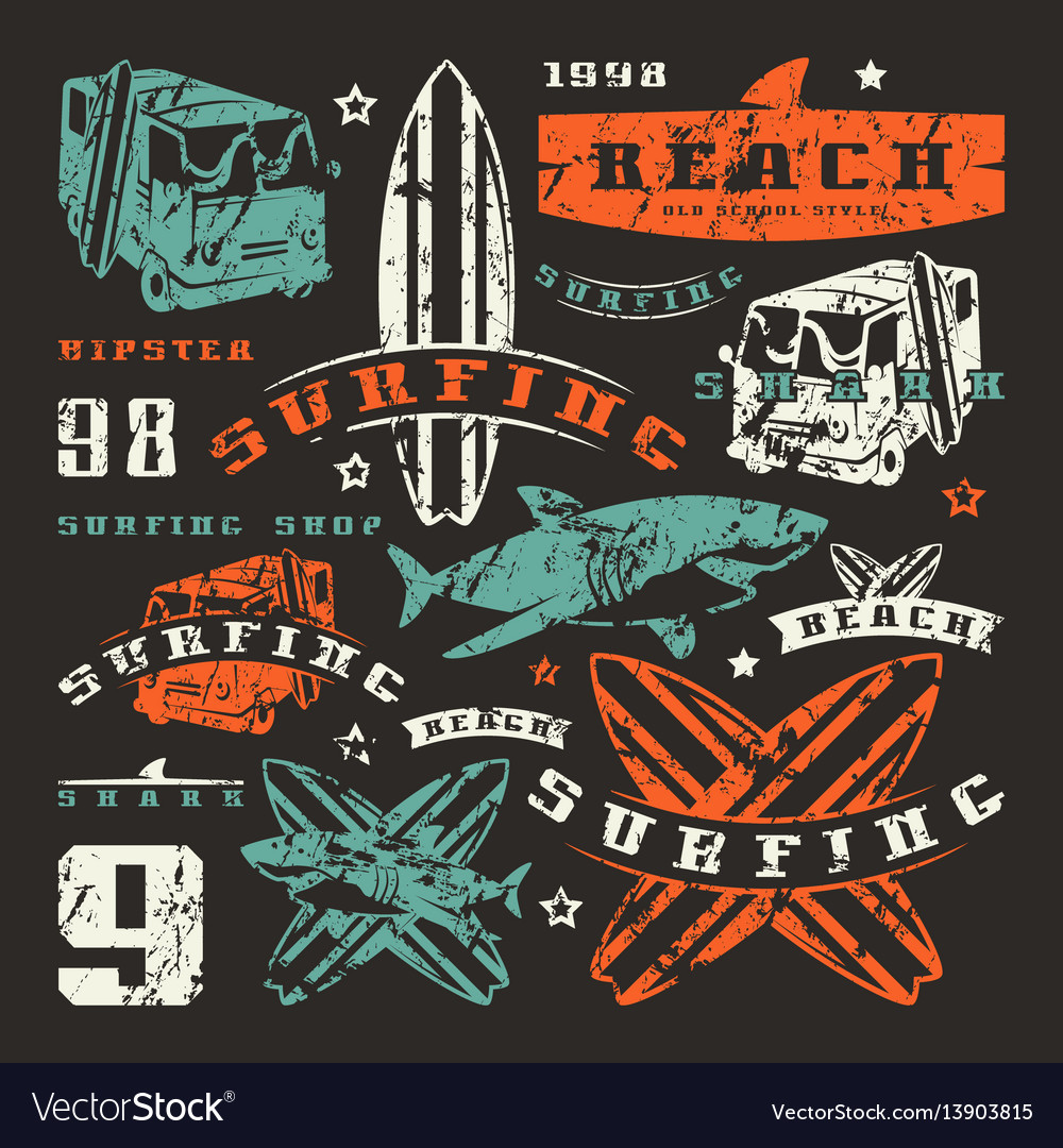 Set of graphic elements bus surfing shark