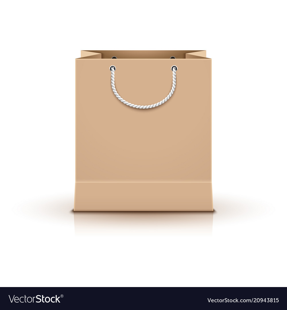 Shopping paper bag empty isolated on white