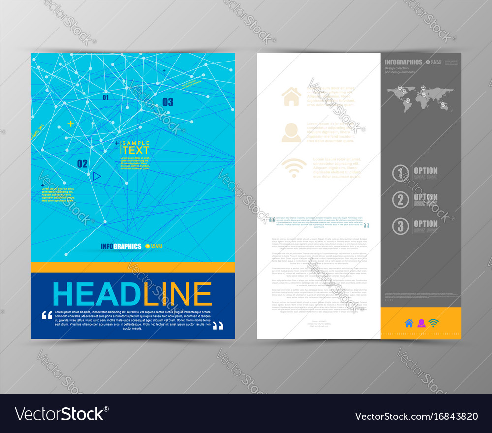 Abstract geometric brochure template map vector image
