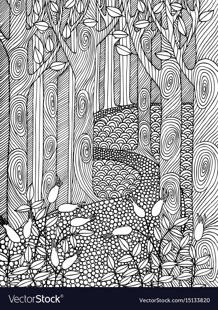 Adult coloring book page design with forest trees