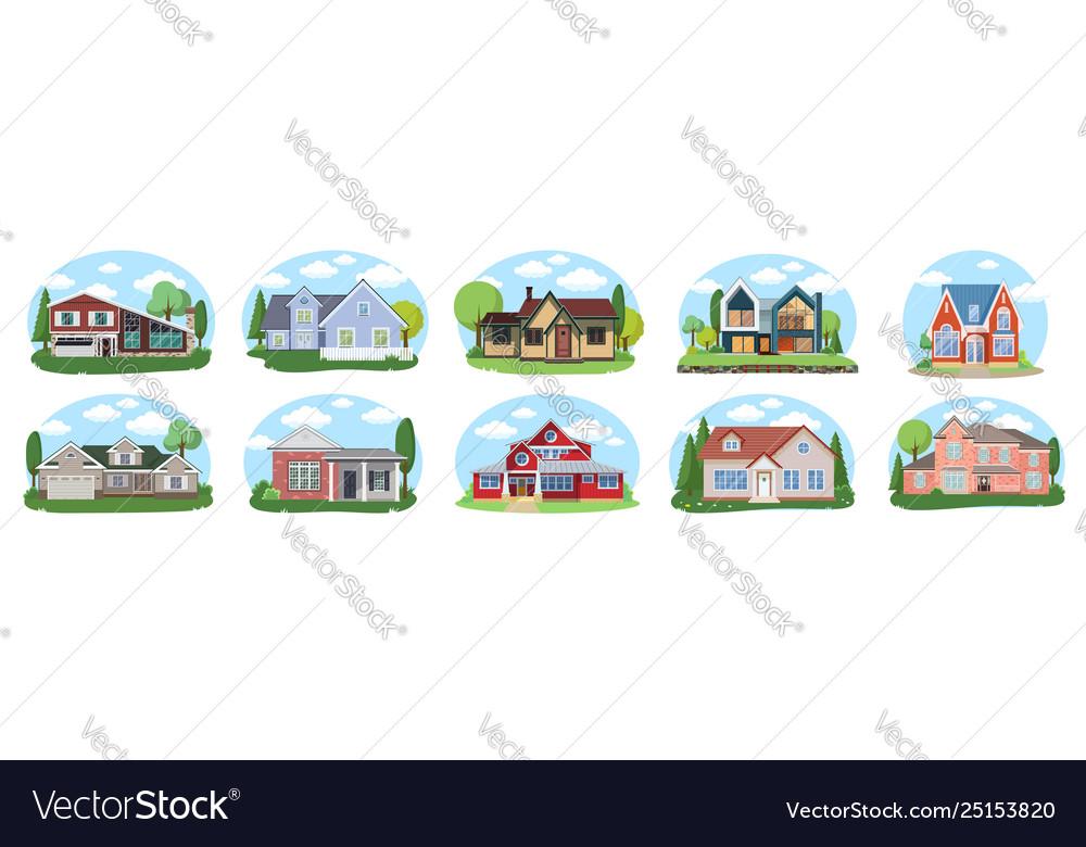 Big houses set buildings set flat design