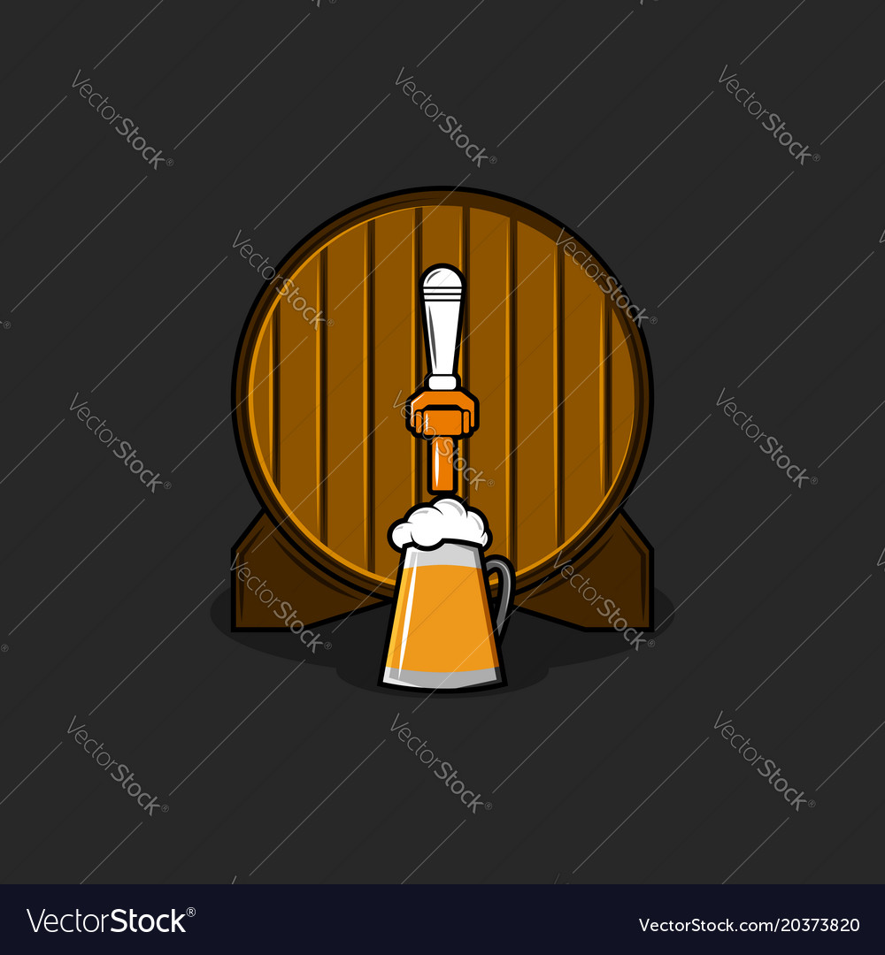 Brewery logo mockup old wooden barrel with bronze