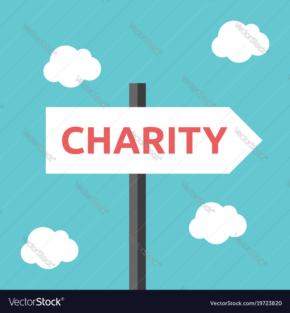 Charity direction road sign